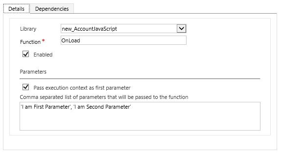 Dynamics Customer Engagement: Passing parameters to JavaScript Web