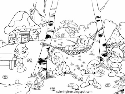 Funny Smurf cartoon mushroom house picture spellbound Smurfs Coloring pages for teenagers difficult