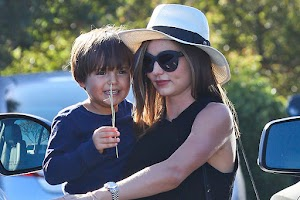 Family ties: Miranda Kerr with her son Flynn in Malibu