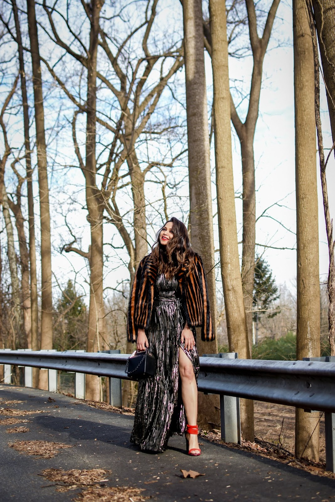 glam goddess, holiday outfit, style, fashion, party ready, fur coat, metallic gown, saumya shiohare, myriad musings