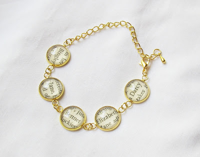 image bracelet gold pride and prejudice jane austen mr darcy bingley elizabeth bennet jane literature text two cheeky monkeys jewellery jewelry
