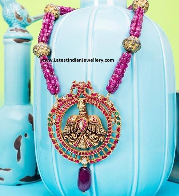 Ruby Beads Garuda Pendant