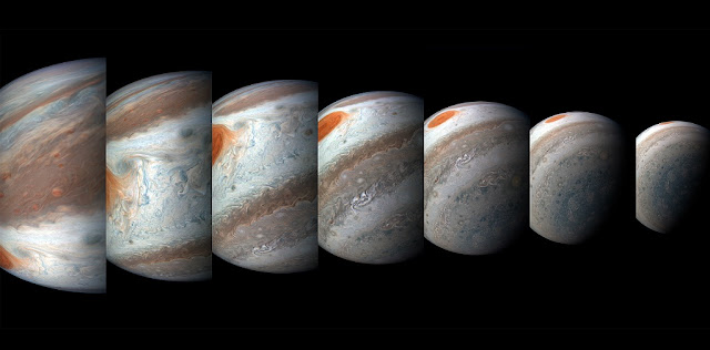 A south tropical disturbance has just passed Jupiter's iconic Great Red Spot and is captured stealing threads of orange haze from the Great Red Spot in this series of color-enhanced images from NASA's Juno spacecraft. From left to right, this sequence of images was taken between 2:57 a.m. and 3:36 a.m. PDT (5:57 a.m. and 6:36 a.m. EDT) on April 1, 2018, as the spacecraft performed its 12th close flyby of Jupiter. Citizen scientists Gerald Eichstädt and Seán Doran created this image using data from the spacecraft's JunoCam imager. Credits: NASA/JPL-Caltech/SwRI/MSSS/Gerald Eichstädt/Seán Doran