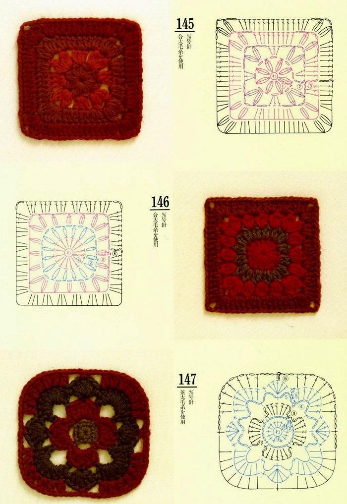 Motivos Quadrados de Crochê Com Gráficos 23