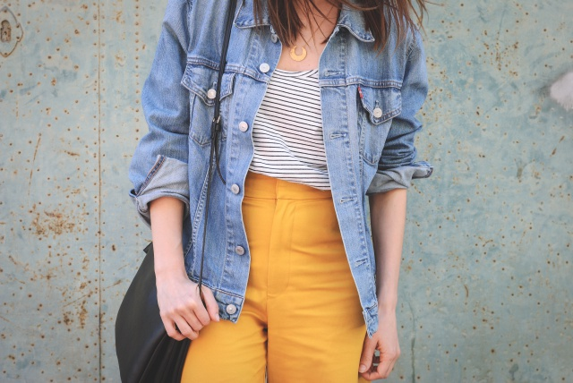Yellow culotte look