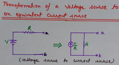 Transformation of a voltage source to an equivalent current source, source conversion