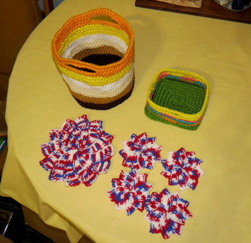 crocheted baskets and mats