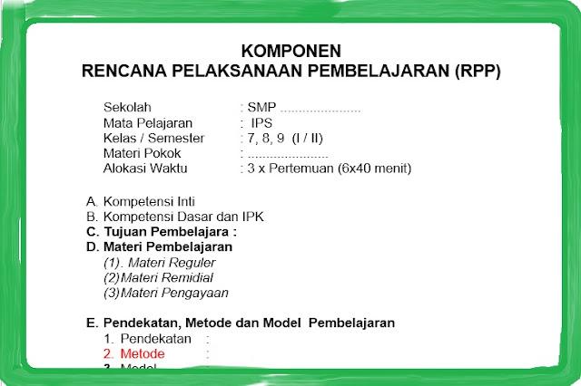 Format RPP SMP / MTs Kurikulum 2013 Revisi 2018 Kelas 7, 8, 9