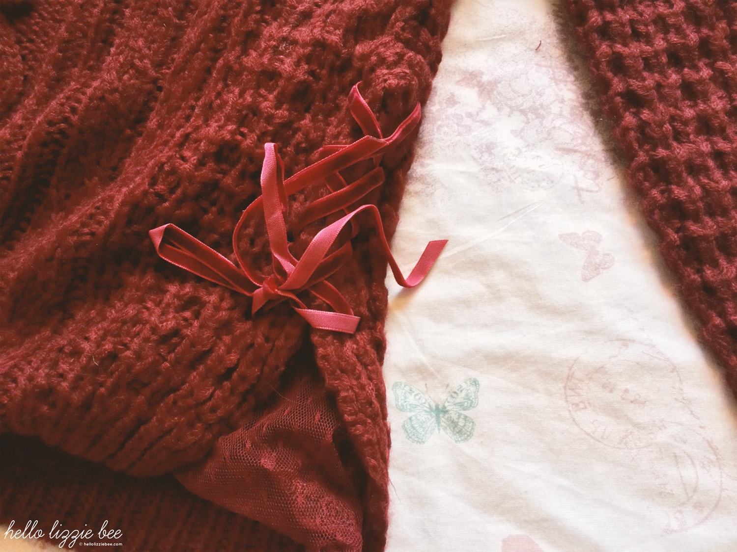 red knitwear ribbons