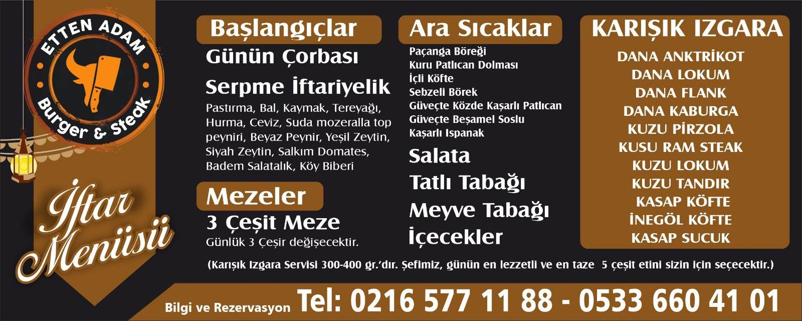 etten adam burger steak ataşehir istanbul ramazan 2019 iftar menü fiyat