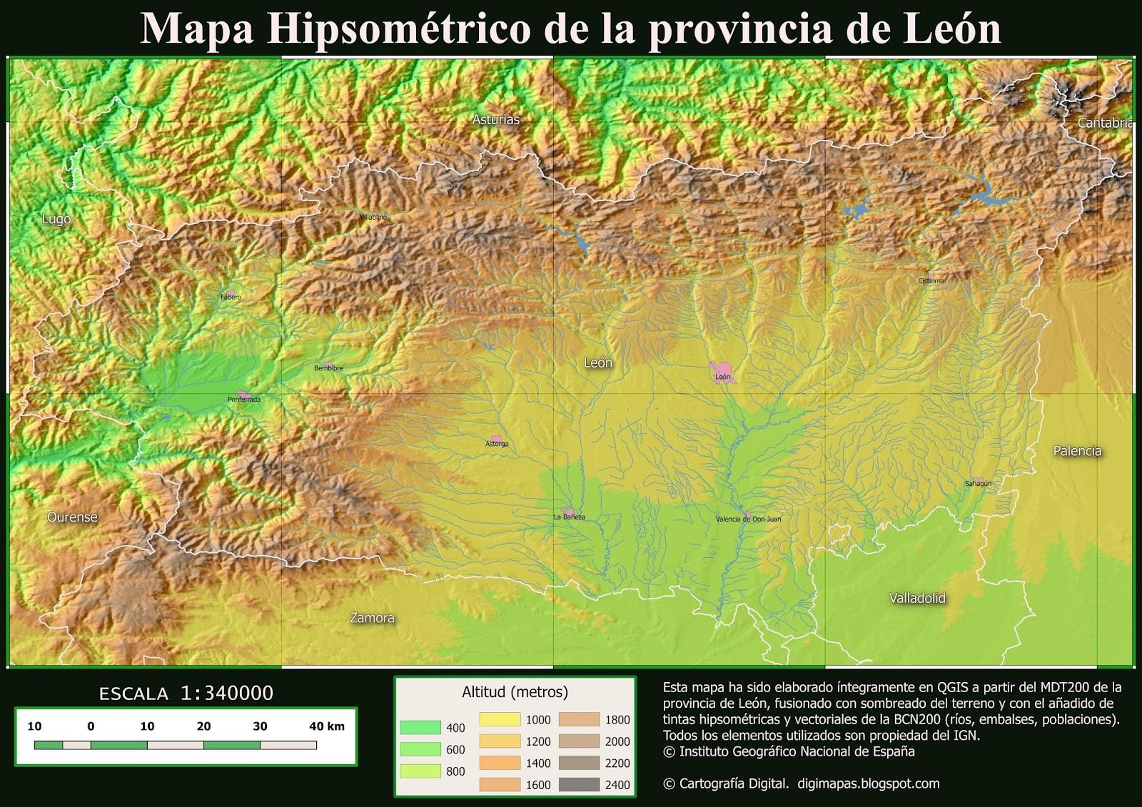 Cartografía Digital: Mapa hipsométrico en QGIS.