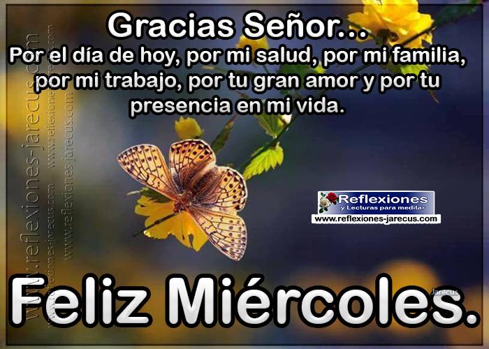 Feliz miércoles, gracias Señor por el día de hoy, por mi salud, por mi familia, por mi trabajo, por tu gran amor y por tu presencia en mi vida.