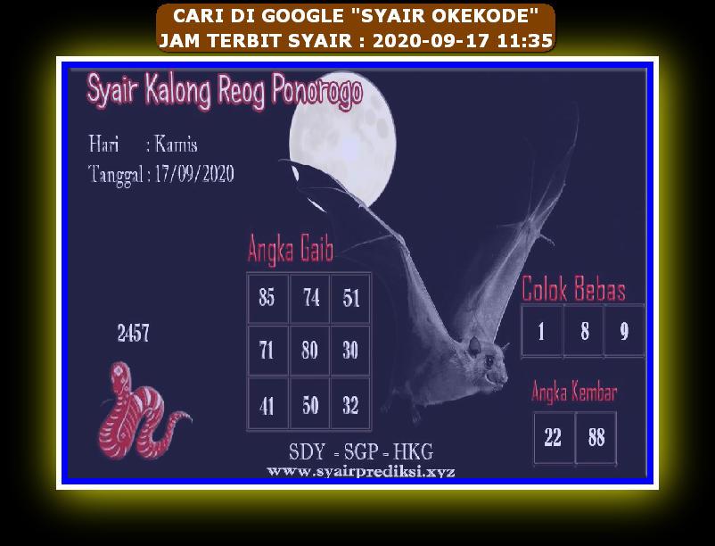 Kode syair Hongkong Kamis 17 September 2020 208