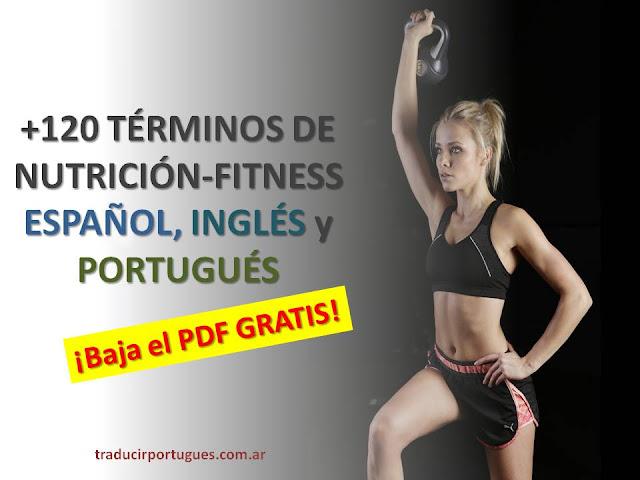 glosario fitness y nutrición, español, portugués, inglés