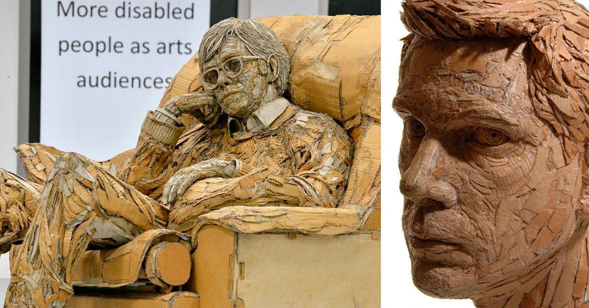 Esculturas figurativas de papelão por James Lake