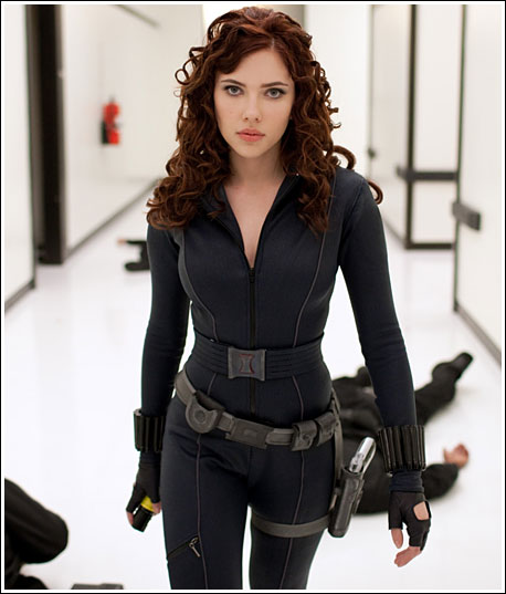 Scarlett Johansson as Black Widow, full frontal shot, in Iron Man 2 movieloversreviews.filminspector.com