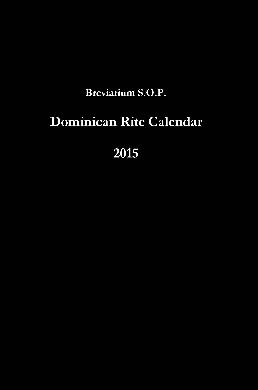 Breviarium S O P Coming Soon The Breviarium S O P Liturgical Calendar