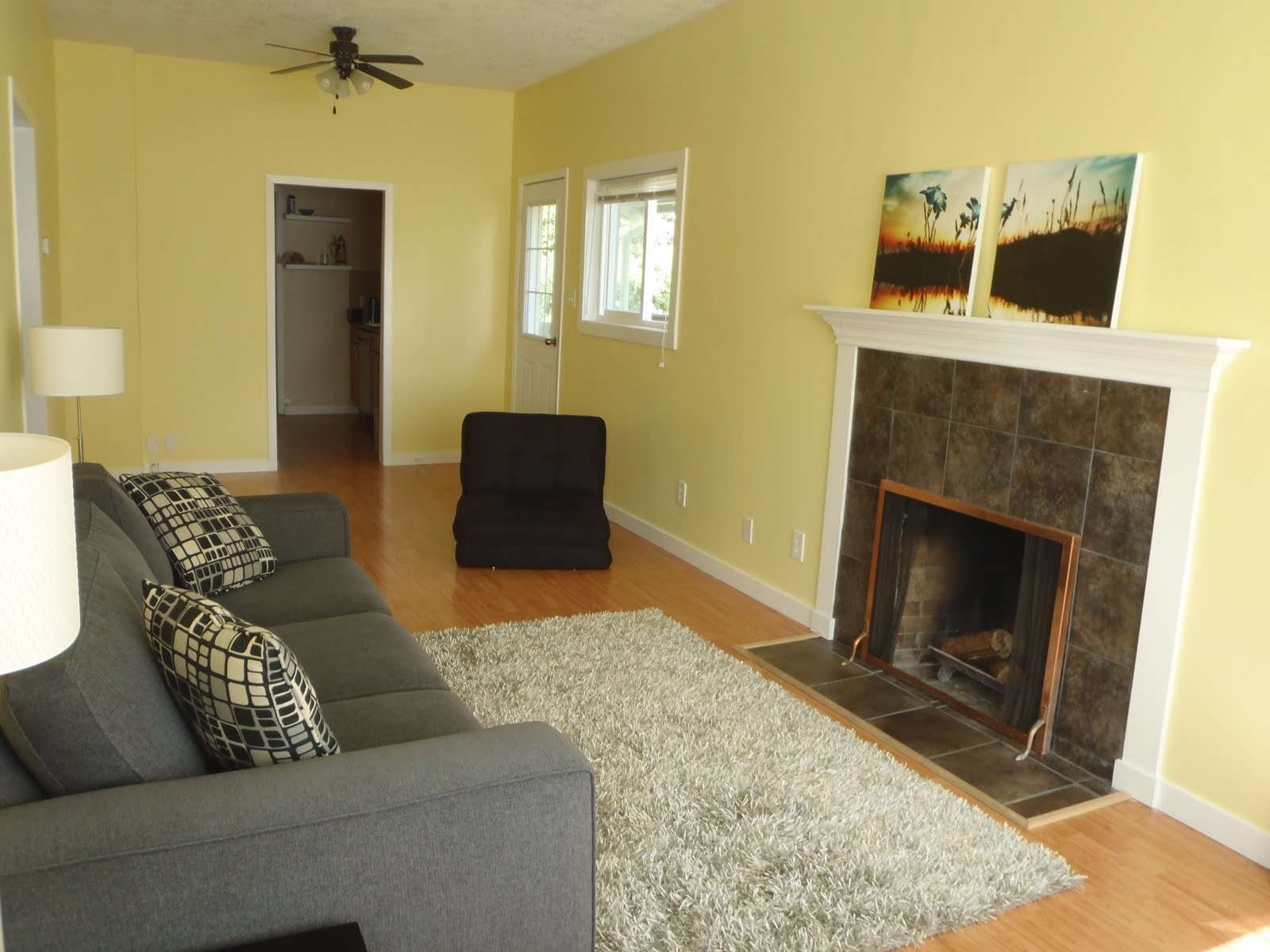 wall color for gray sofa loft miami fl real photo of yellow walls 43 grey rug living