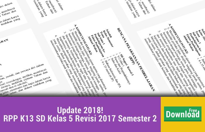 RPP K13 SD Kelas 5 Revisi 2017 Semester 2