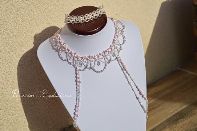 mariage bijoux collier et bracelet en perles