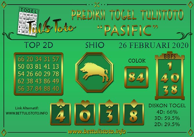 Prediksi Togel PASIFIC TULISTOTO 26 FEBRUARI 2020