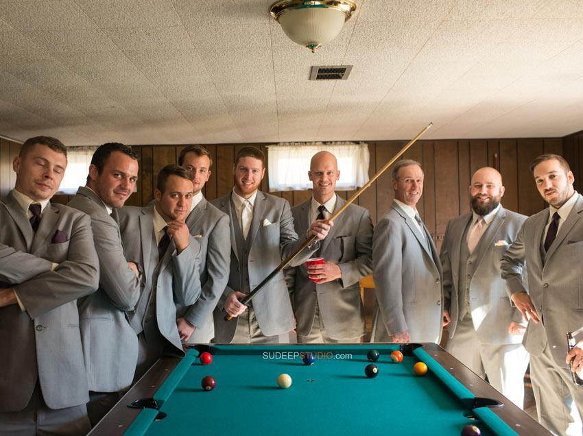 Groom shooting pool - Sudeep Studio.com Ann Arbor Wedding Photographer