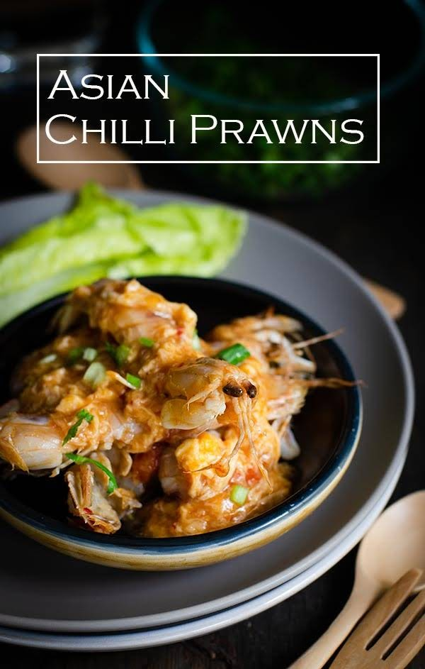 Easy chilli prawns recipe uses simple, fresh and ingredients that will leave you with sticky fingers and a smile of fully satiated tummy. Easy chilli prawns is a spin off the famous Asian chilli crabs.