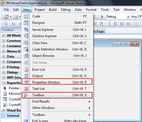 Showing Toolbox and Properties Windows in VB