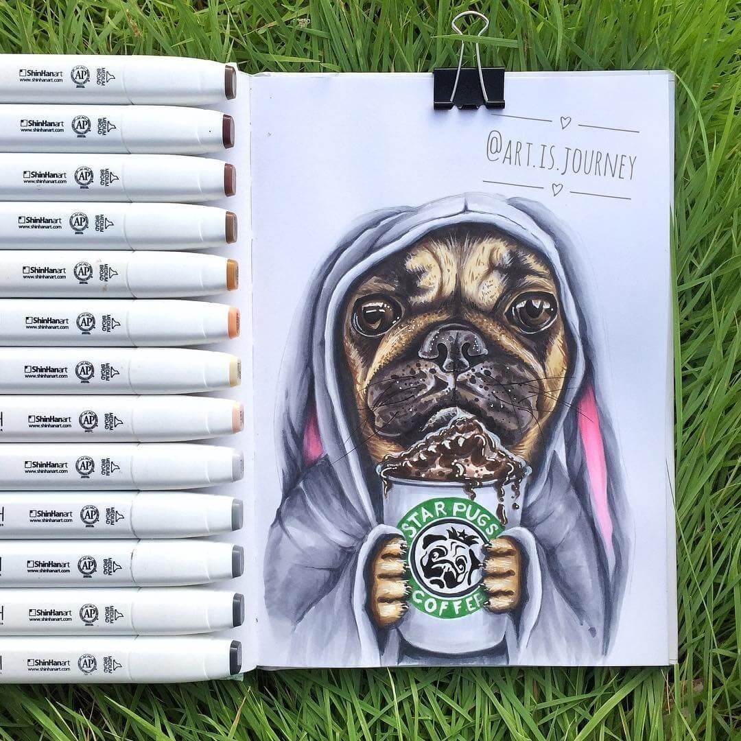 03-The-Starbucks-Pug-art-is-journey-Eclectic-Mixture-of-Fantasy-Drawings-www-designstack-co