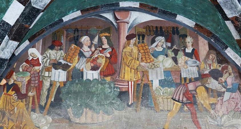 Mercado de frutas e verduras. Afresco no Castello di Issogne, Val d'Aosta.