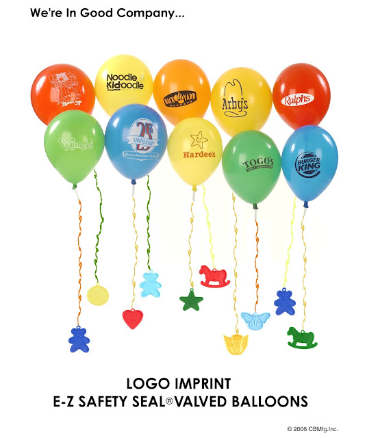 Custom Logo Imprinted Latex Balloons featuring Self Sealing Balloon Valves used as Advertising Balloons