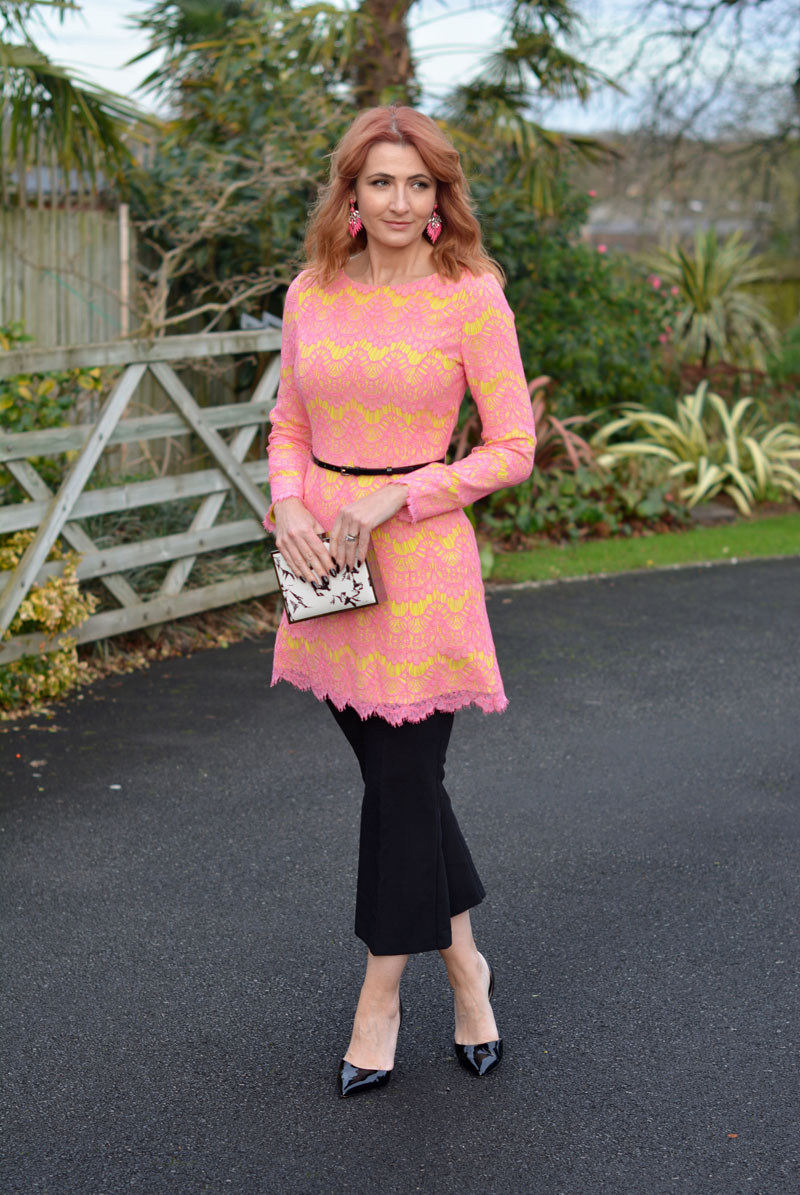 34cc7c29a84c An Award-Winning Pink   Yellow Lace Dress Over Cropped Trousers   iwillwearwhatilike