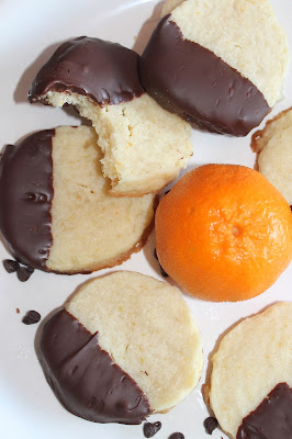 Savory Moments: Chocolate-dipped orange shortbread cookies