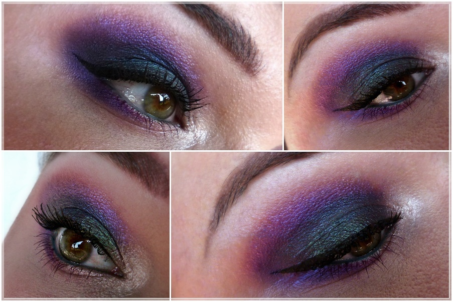 farbenfrohes smokey eye türkis violett