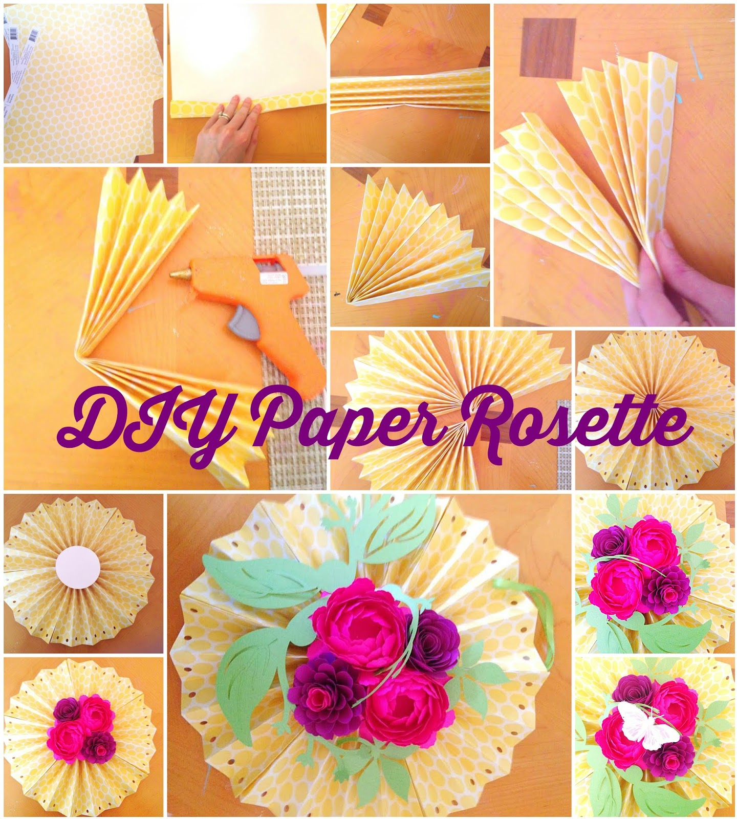 Diy paper rosette hanging fan with decorative paper for Decorative flowers for crafts