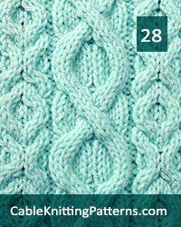 Cable Panel 28. Knit with 23 stitches and 16-row repeat. Techniques used: 3/3 right cross, 3/3 left cross, 3/1/3 left purl cross.