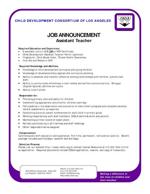 sample resume for early childhood teacher sample resumes