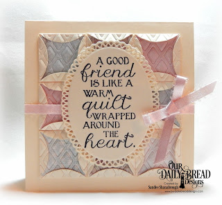 Our Daily Bread Designs Stamp Set: Sewn with Love, Paper Collection: Shabby Rose, Custom Die: Quilted Window Squares, Lattice Background, Ornate Ovals