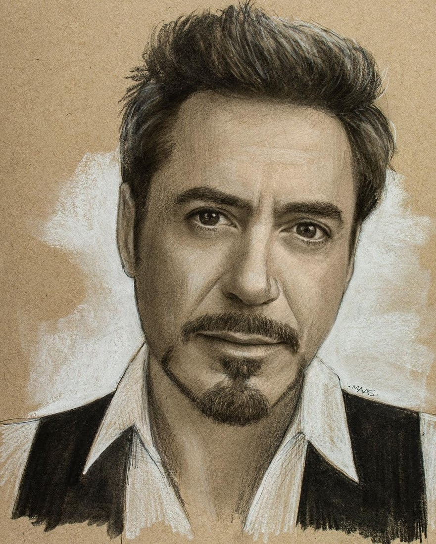 01-Robert-Downey-Jr-Justin-Maas-Pastel-Charcoal-and-Graphite-Celebrity-Portraits-www-designstack-co