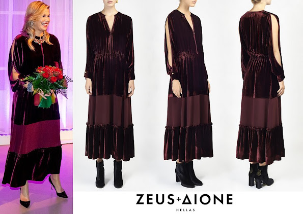 Queen Maxima wore Zeus and Dione Basilia Velvet midi dress