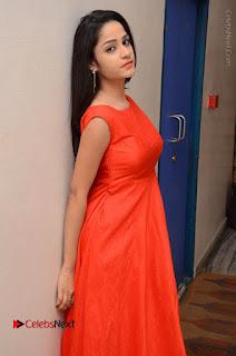 Telugu Actress Divya Nandini Stills in Orange Sleeveless Gown at Chennai Chaitrama Movie le Launch Event  0074.JPG