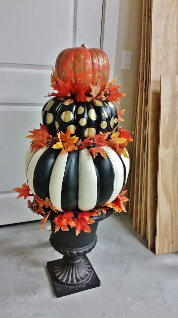 black and white striped pumpkin, stenciled pumpkin