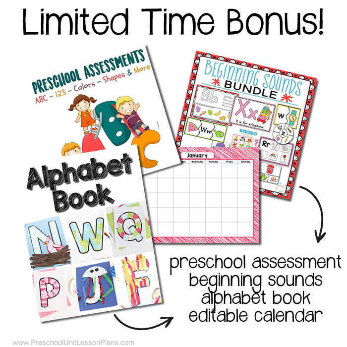 preschool unit lesson plans bundle