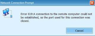mengatasi error 619 modem