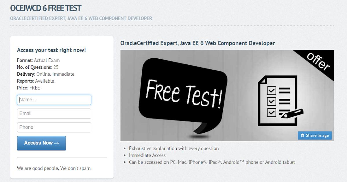 5 Free OCEJWCD 6 Mock Exam 1Z0-899 Practice Test
