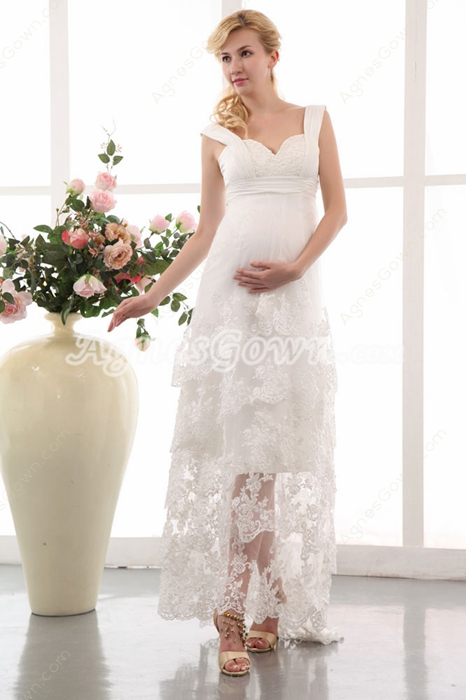 Casual Lace Maternity Wedding Gown