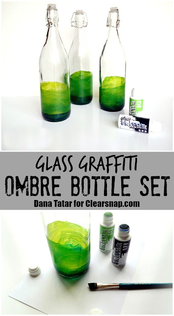 DIY Glass Graffiti Ombre Glass Bottles by Dana Tatar for Clearsnap