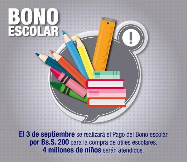 Este lunes 3 de septiembre será depositado el bono de escolarización