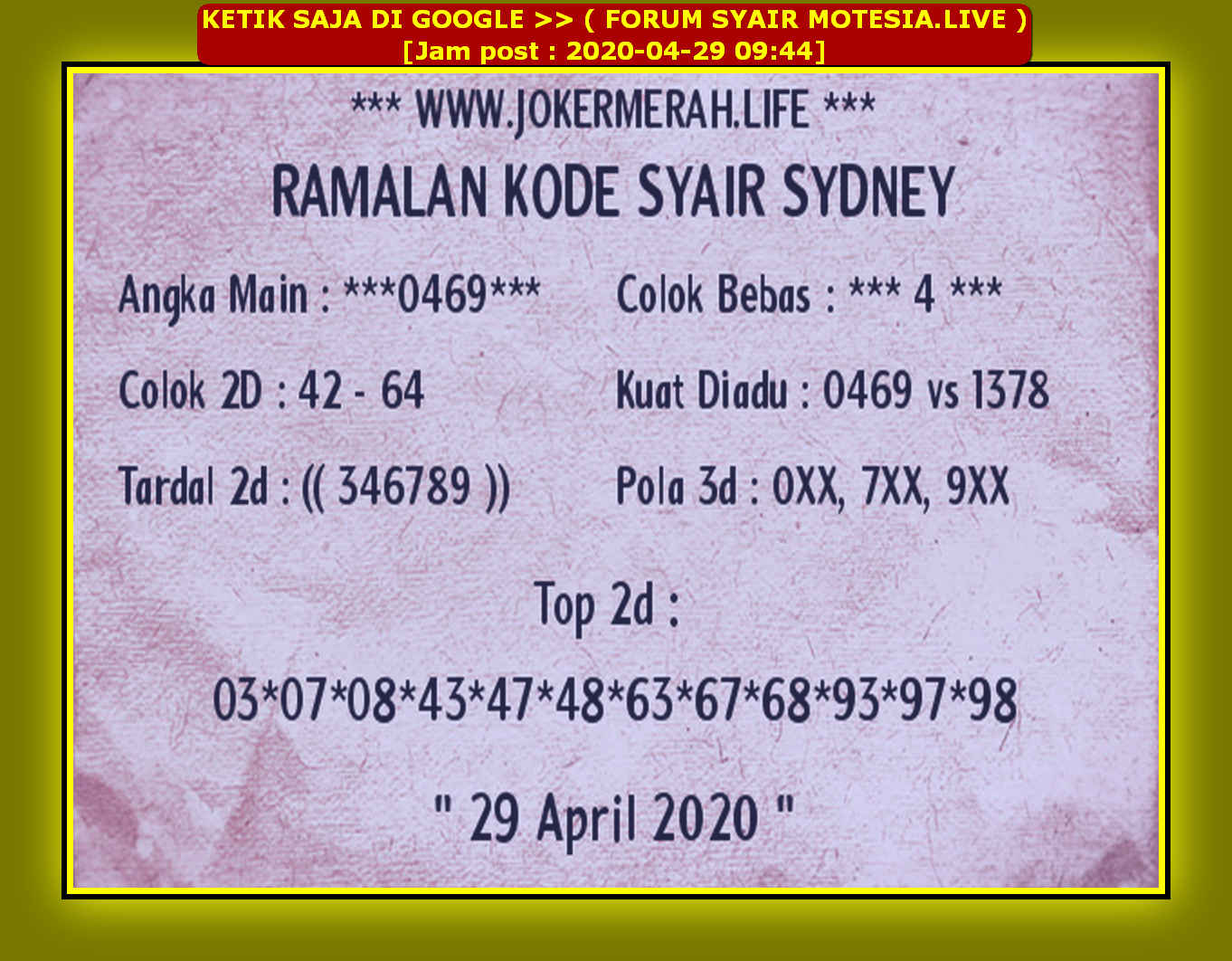 Kode syair Sydney Rabu 29 April 2020 78