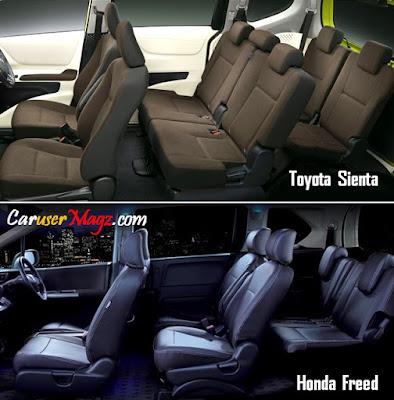 Perbandingan Kabin Toyota Sienta vs Honda Freed